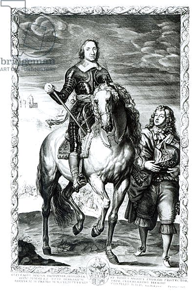 Equestrian portrait of Oliver Cromwell engraved by Pierre Lombart
