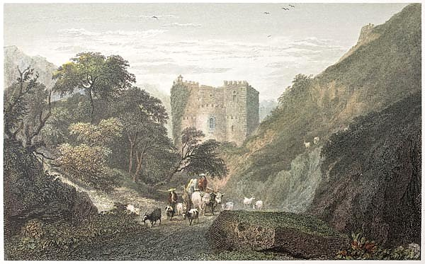 Abazia ruins, near Messina, Sicily. Created by De Wint and Goodall, printed by McQueen, publ. in Lon