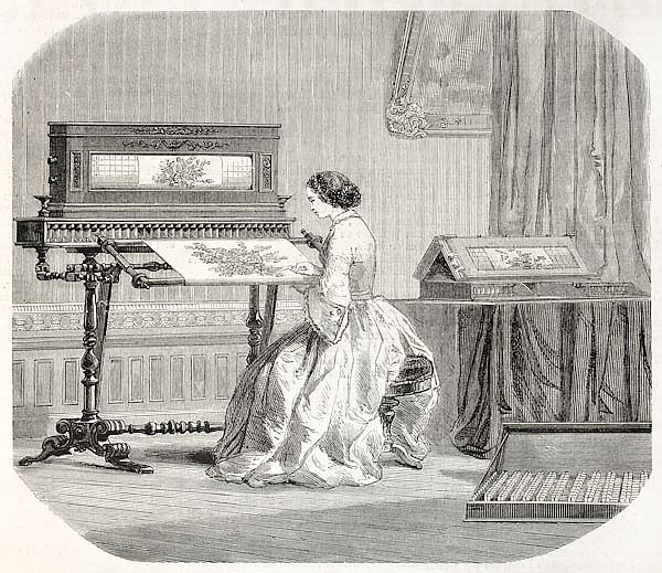 Embroidery machine. By unidentified author, published on L'Illustration, Journal Universel, Paris, 1