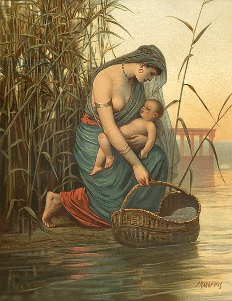 The infant Moses and his mother