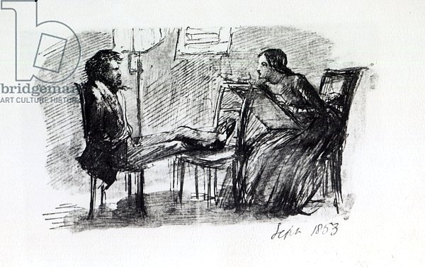 Rossetti being sketched by Elizabeth Siddal, September 1853