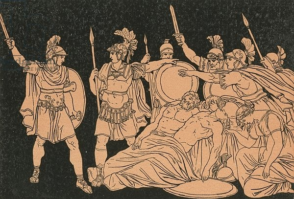 Turnus over the bodies of Alma and Galaesus