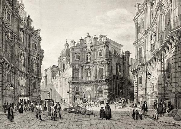 Quattro Cantoni in Palermo, Italy. Original engraving was created by B. Rosaspina and is datable to