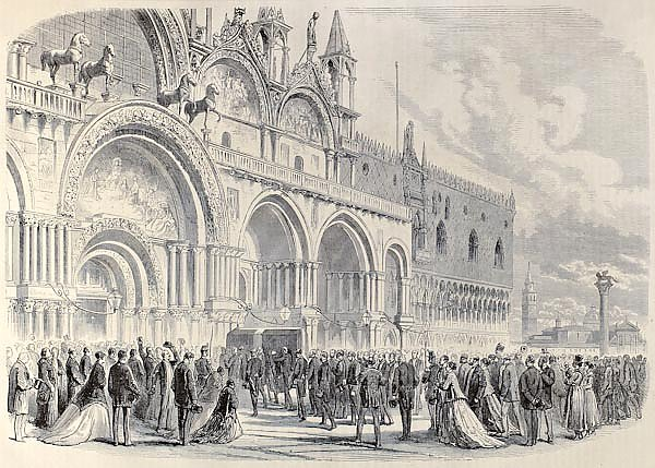 St. Mark's square in Venice, Italy .Published in Florence, Italy, 1842