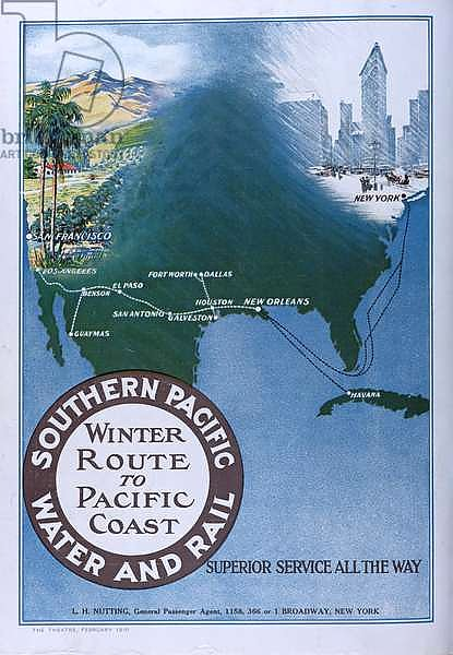 Advertisement for the 'Winter Route to Pacific Coast' of 'Southern Pacific Water and Rail', from 'Theatre' magazine, 1910