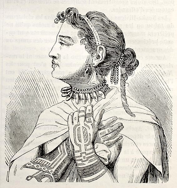 Marquesas islands Queen. Created by Krusenstern, published on Magasin Pittoresque, Paris, 1843