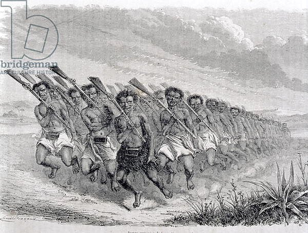 Maori Warriors Performing a War Dance, illustration from 'The Return to the World'