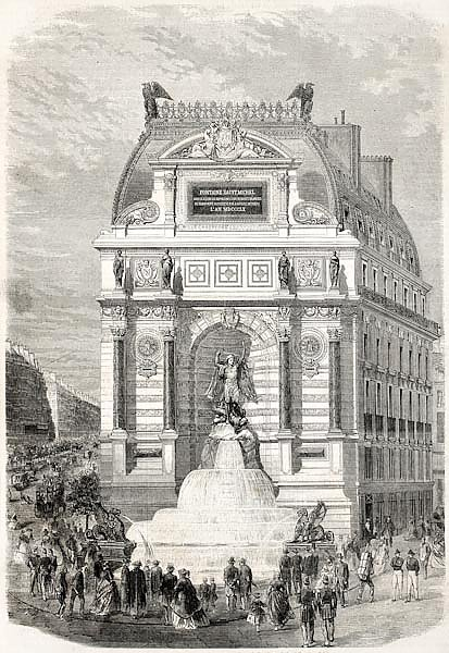 Inauguration of Saint-Michel fountain. Created by Fichot, published on L'Illustration, Journal Unive