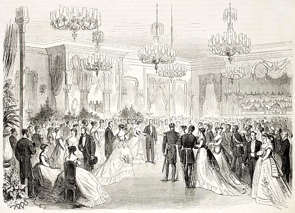 Grand Bal given to Egypt viceroy in Alexandria. Created by Pauquet and Cosson-Smeeton, published on