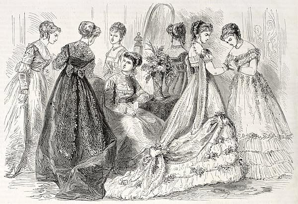 Evening and dance wear in 1868, Paris. Created by Pauquet, published on L'Illustration, Journal Univ