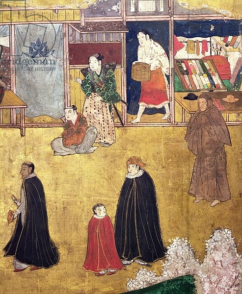 The Arrival of the Portuguese in Japan, detail of shops from a Namban Byobu screen, 1594-1618