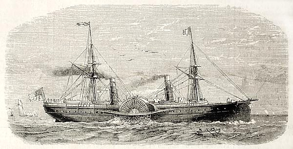 American steamer sailing. Original, from drawing of Lebreton, published on L'Illustration, Journal U