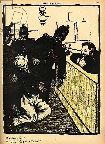 Three policemen bring a man beaten black and blue into the police station, 1902