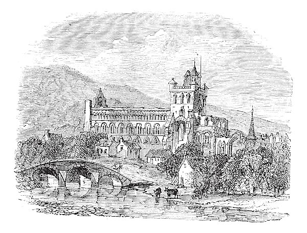 Jedburgh Abbey in Scotland vintage engraving