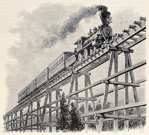 Union Pacific railroad. Original, created by Blanchard, was published on L'Illustration, Journal Uni
