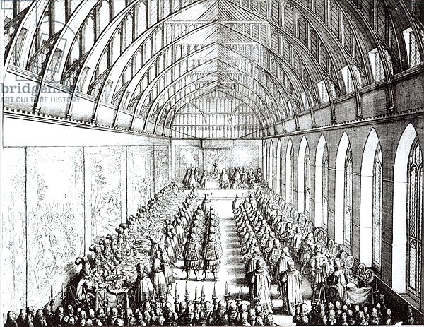 Garter Feast in St. George's Hall, Windsor, in the time of Charles II, 1672