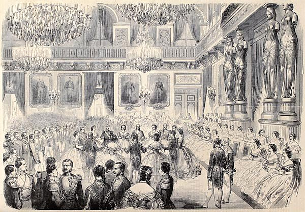 "Grand Bal in Tuileries Palace. Original, after drawing of G. Durand, published on ""L'Illustration, J"