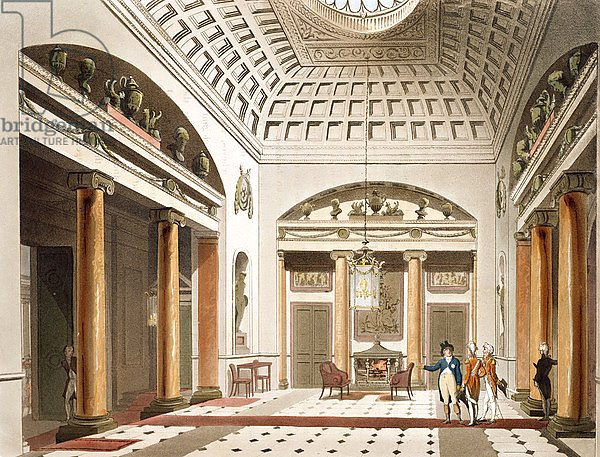 The Hall, Carlton House, from Ackermann's 'Microcosm of London'
