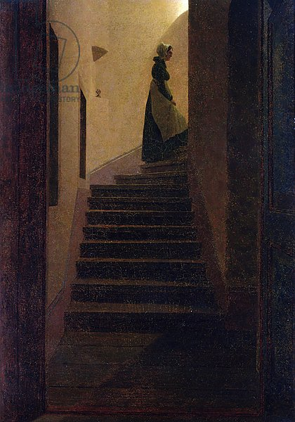 Постер Фридрих Каспар (Caspar David Friedrich) Caroline on the Stairs
