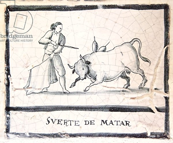 Bullfight scene on an antique tile - The Killing Stage