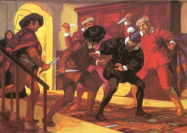 Pizarro dying at the hands of his rebellious soldiers