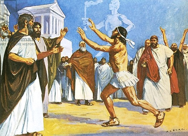 Pheidippides bringing news to Athens in 490 BC