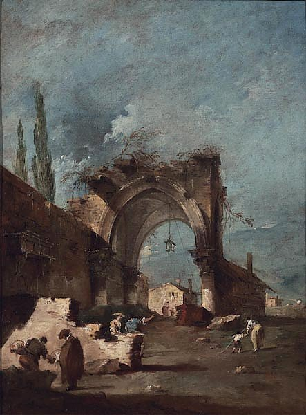A capriccio of buildings on the laguna with figures by a ruined arch