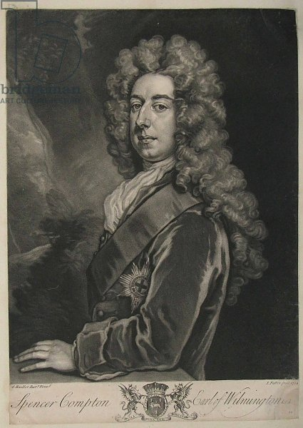Spencer Compton, Earl of Wilmington, print by John Faber, 1734