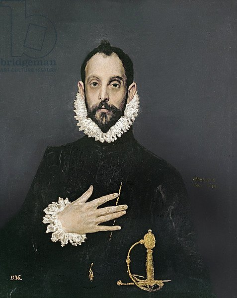 Gentleman with his hand on his chest, c.1580