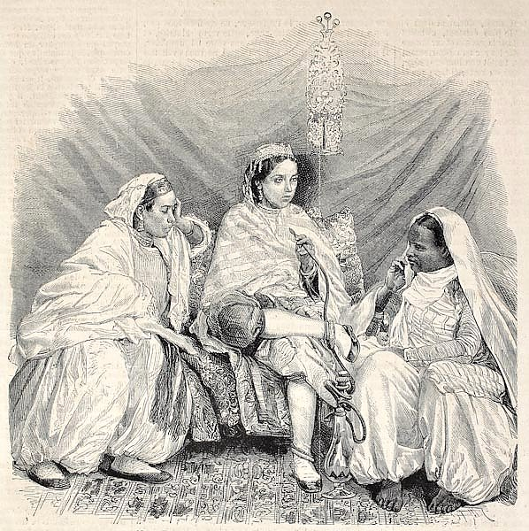 Moorish women in home interior in Algiers. Original, from drawing of Janet-Lange, published on L'Ill