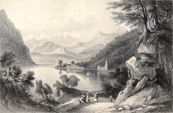 Lake Lugano,  between Italy and Switzerland. Original, created by Major Irton and T. A. Prior, publi