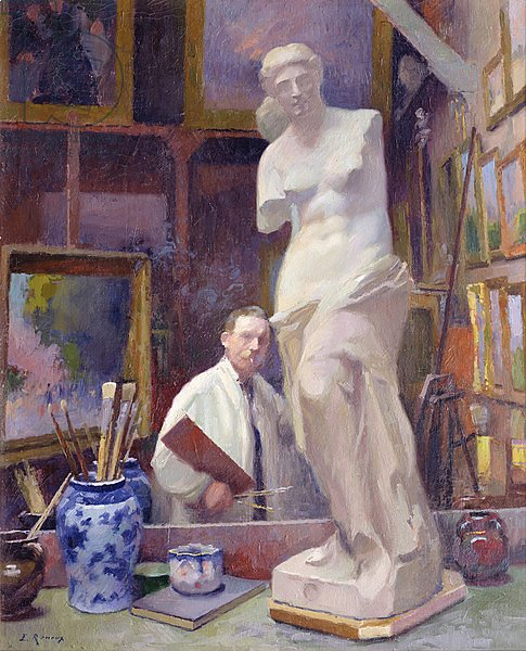 Ernest Renoux in his Studio, 50, rue Saint-Didier