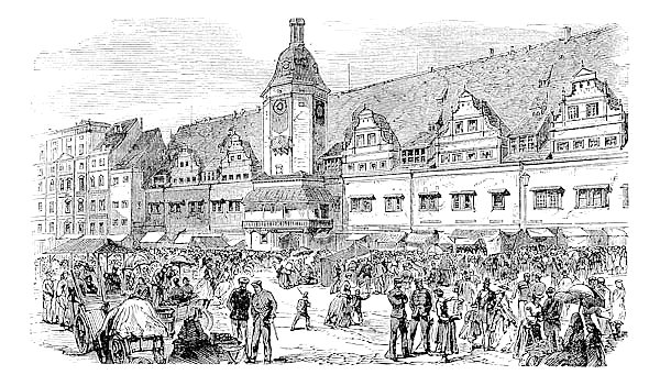 City Hall and market place in Leipzig, Germany, vintage engraving