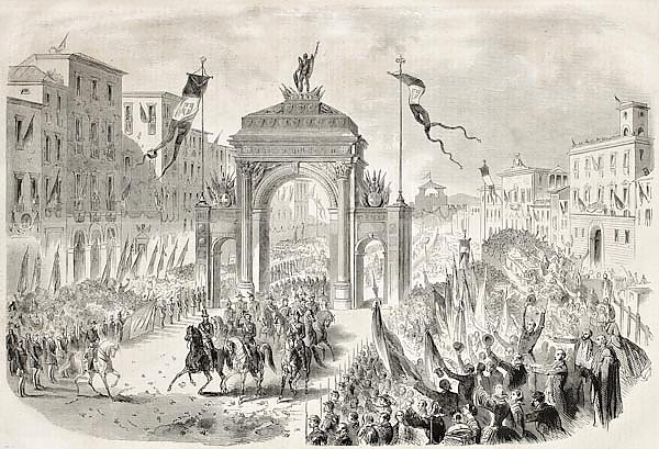 Victor Emmanuel II entering in Florence. Original, from drawing of Janet-Lange, published on L'Illus