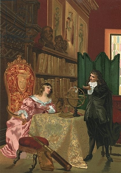Descartes discussing philosophy with Queen Christina of Sweden