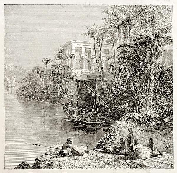 Agilkia Nile island,  Egypt. Created by Bartlett, published on Magasin Pittoresque, Paris, 1850