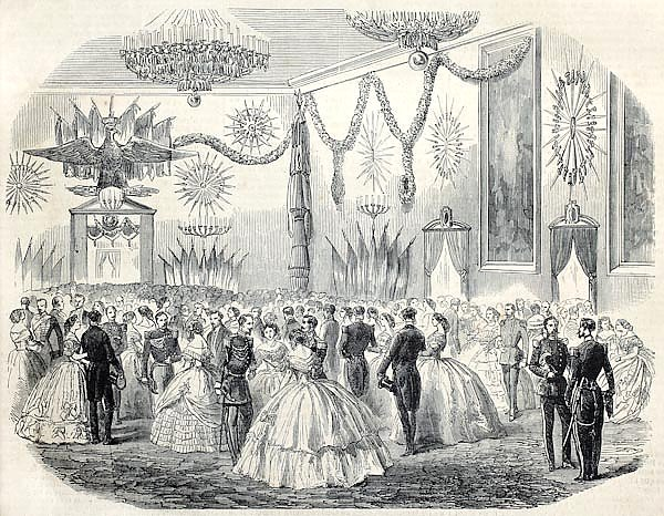 French army ball at Cremona's city hall, Italy. Original, from drawing of Janet-Lange, published on