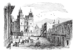 Постер Cathedral at Guanajuato vintage engraving