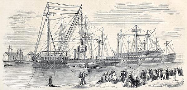 Loading ships departing from Toulon to China. Original, from drawing of Lebreton,was published on L'
