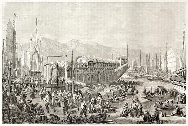 The port of Shanghai. Created by Grandsire after Trevise, published on Le Tour du Monde, Paris, 1860