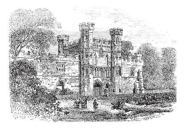 Battle Abbey, Hastings, East Sussex, England vintage engraving