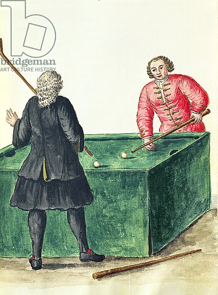 Two Venetian Noblemen Playing Billiards