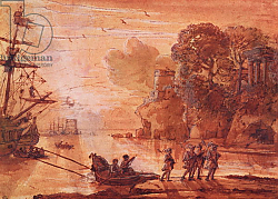Постер Лоррен Клод (Claude Lorrain) The Disembarkation of Warriors in a Port, possibly Aeneas in Latium, 1660-65