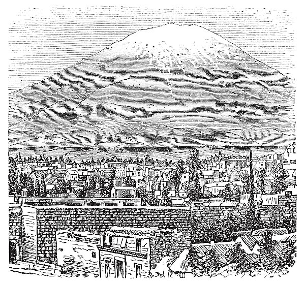 Arequipa and the Misti volcano old engraving, in 1890.
