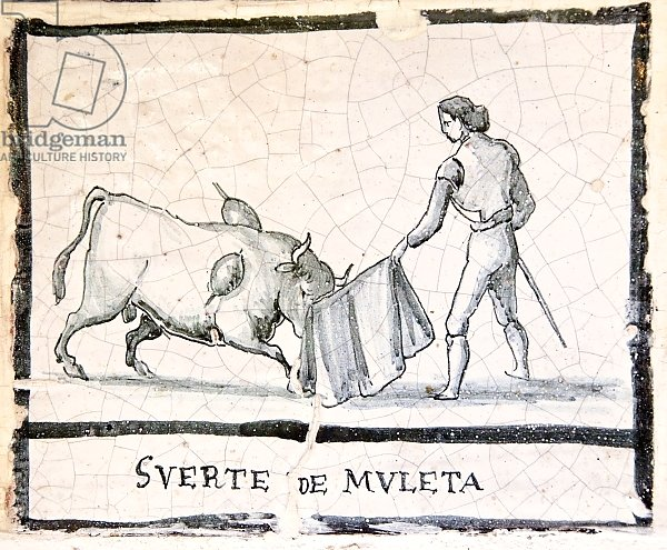 Bullfight scene on an antique tile - The Muleta Stage