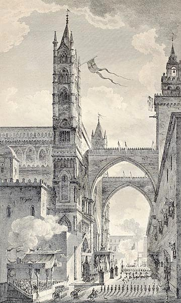 Palermo cathedral arches. By Desprez e Quaurovilliers, published on Voyage Pittoresque de Naples et