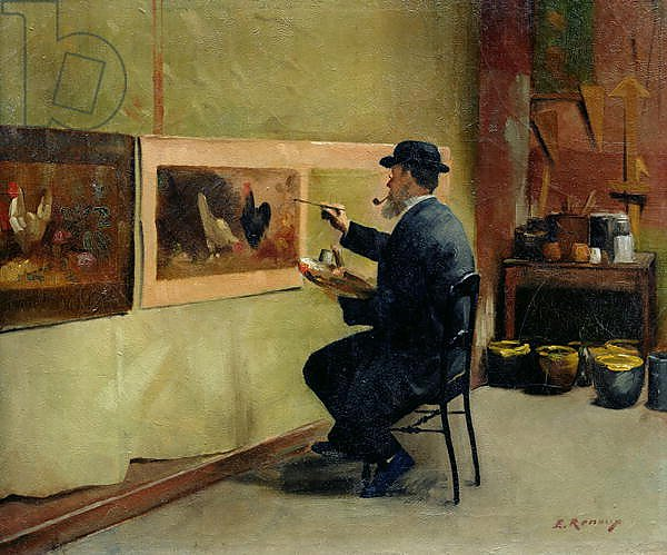 Charles Philippe Gevens, father-in-law of the artist, painting in his studio 21, avenue d'Eylau