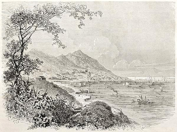 Old view of Hong-Kong. Created by Sabatier after watercolour of Trevise, published on Le Tour du Mon