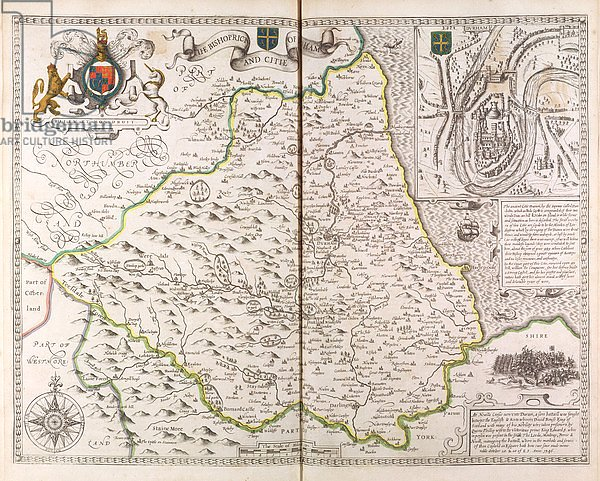 The Bishoprick and City of Durham, from the 'Theatre of the Empire of Great Britaine', 1611-12