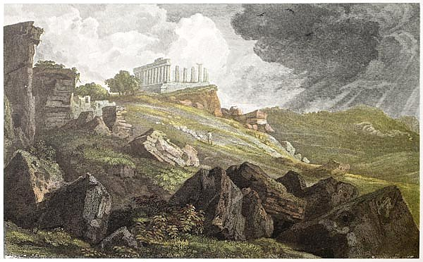 Temple of Juno, Agrigento, Sicily. Created by De Wint and Westwood, printed by McQueen, London, 1823